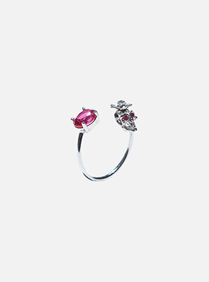 [Stylist &P!CK] H.R RUBY SKULL OPEN RING