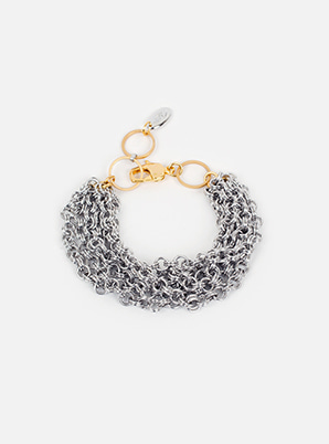 [WANT &P!CK] modgone  Silvertone Chains Layered Bracelet
